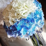 Refined blue and white hydrangea bridal bouquet